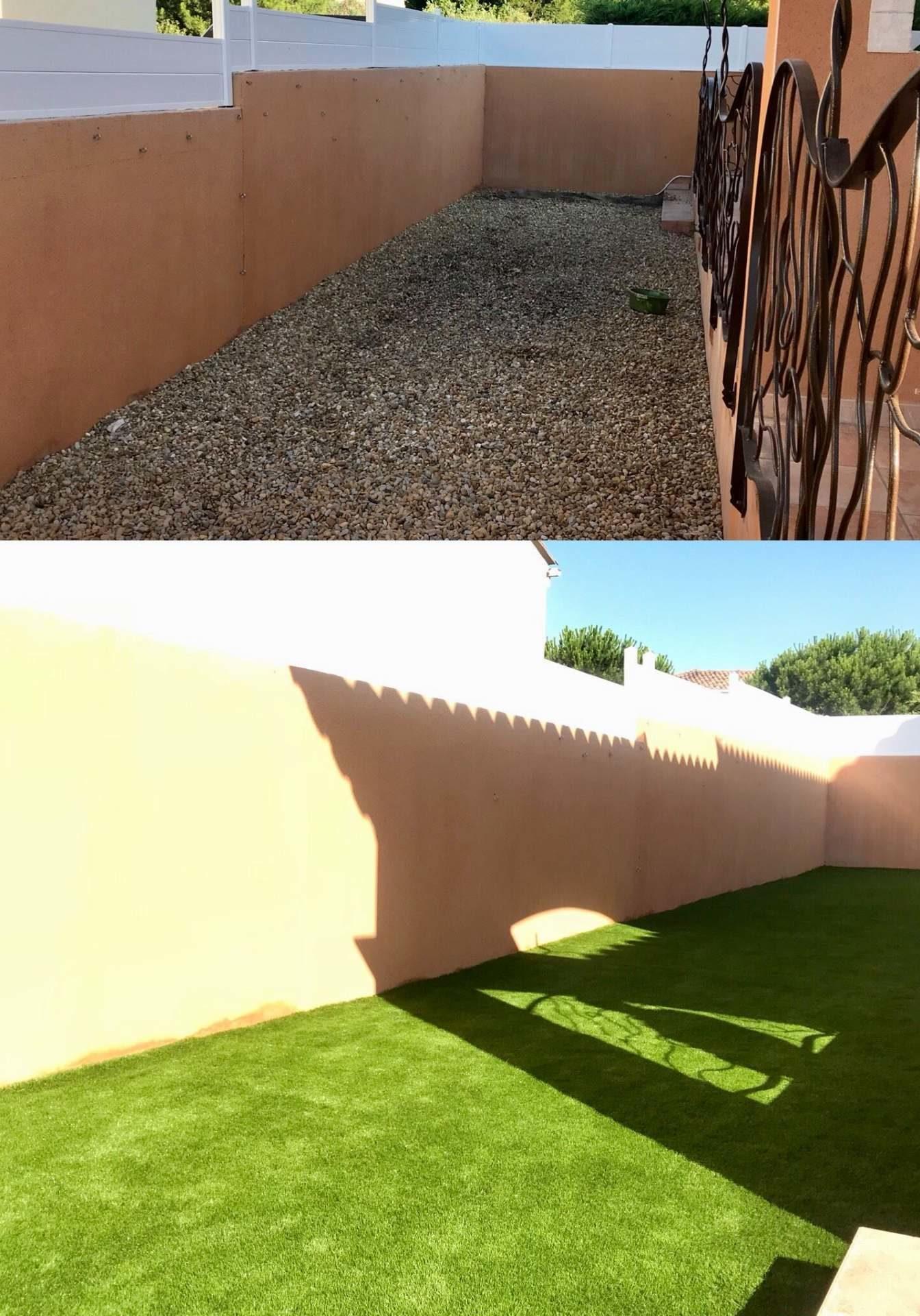 dans tout le Gard et l'Hérault pour ses réalisations de pelouse synthétique pour jardin